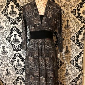 Black, white and brown midi dress